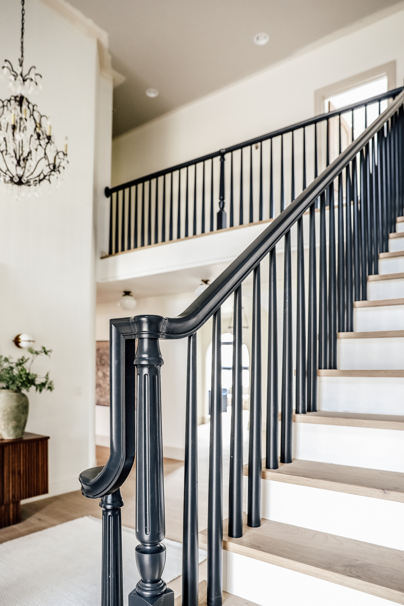How We Completely Updated Our Stair Railings By Only Swapping Out   Painted Handrails For Stairs   Modern   German Style   House   Pressure Treated   Before And After