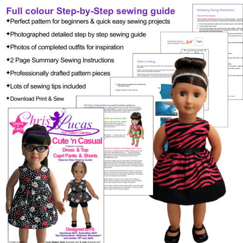 Chris Lucas Designs - Cute n Casual Sewing pattern for 18 inch Dolls - Step by Step Sewing Guide