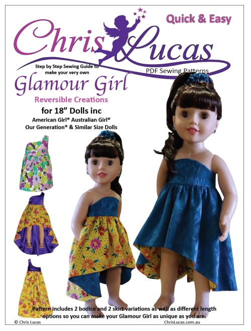 Glamour Girl -- Reversible Dress Sewing Pattern for American Girl and Australian Girl dolls