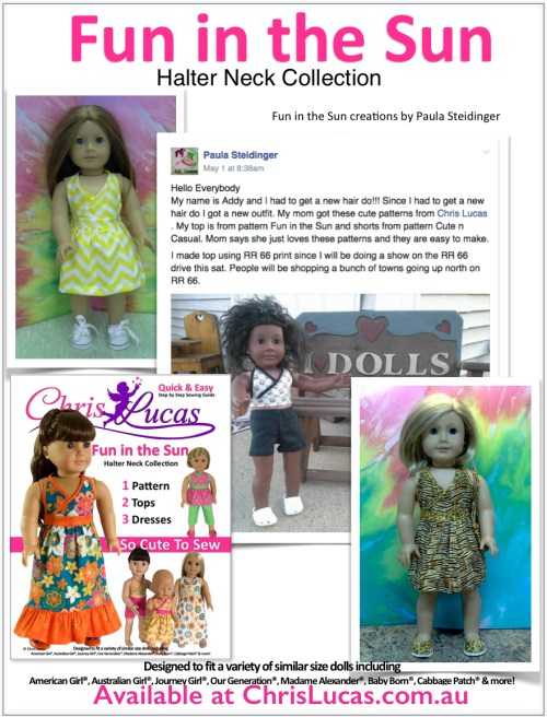 Chris Lucas Designs - Fun in the Sun - Halter Neck Collection - Creations by Paula Steidinger - Doll Sewing Pattern
