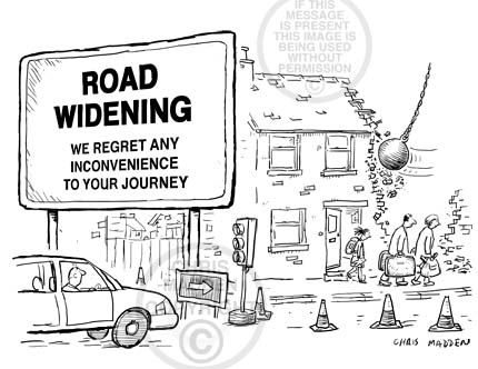 Road transport cartoon. Road widening scheme demolishing a house. The inhabitants are leaving