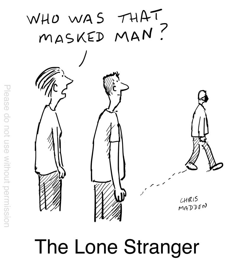 covid mask cartoon the Lone Stranger