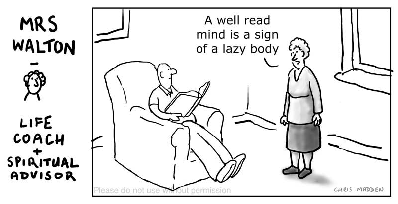 Well read physically lazy person cartoon