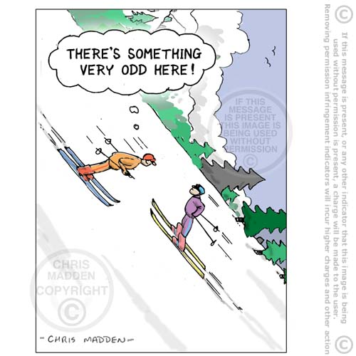 skiing uphill - cartoon