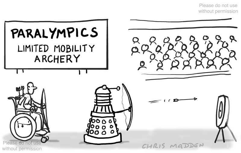 dalek at paralympics - cartoon