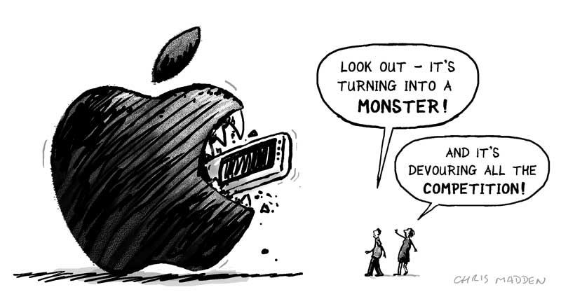 apple logo monster - cartoon