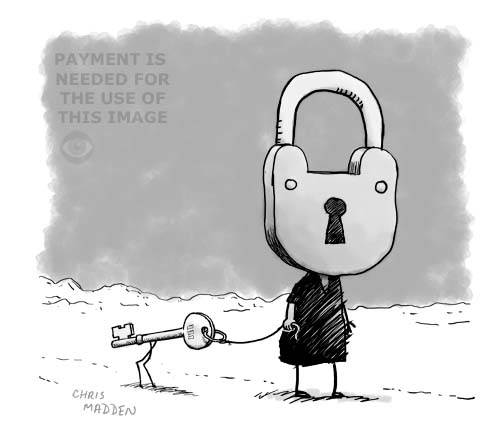 Surreal cartoon of a person with a padlock as a head and a key as a pet