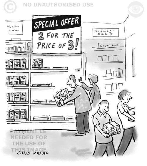 cartoon - a misleading special offer in a supermarket