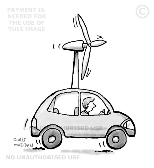 Transport cartoon - a wind powered car