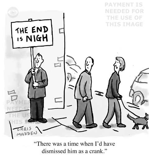 Global warming cartoon - the end is nigh crank