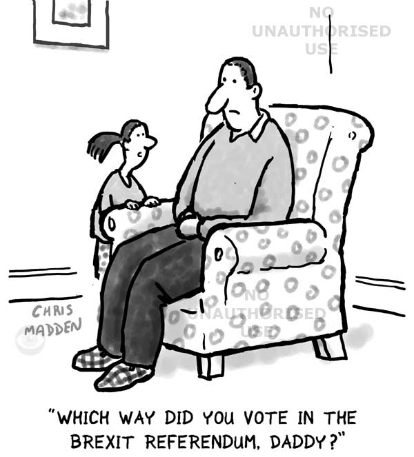 Brexit cartoon - How did you vote daddy?