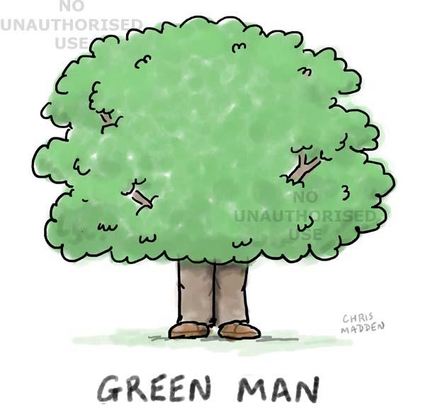 Cartoon - the green man (as a tree)
