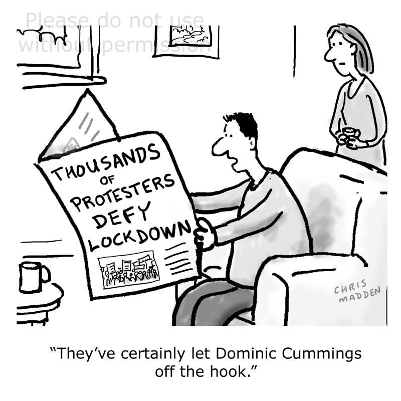 coronavirus covid-19 lockdown breaking demonstration Dominic Cummings cartoon