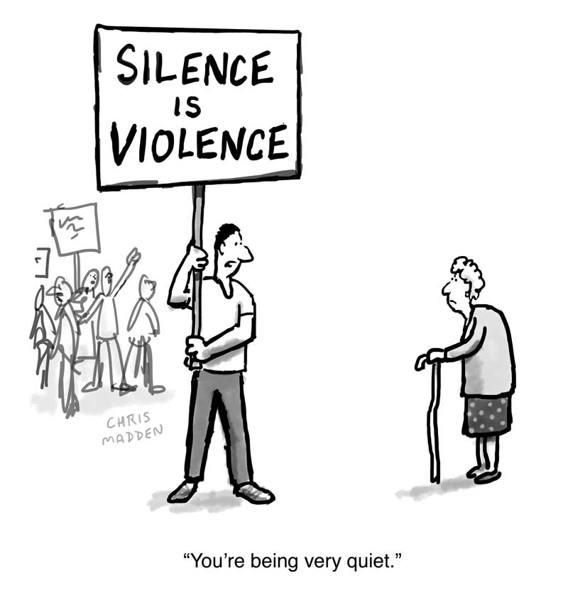 Silence is violence cartoon