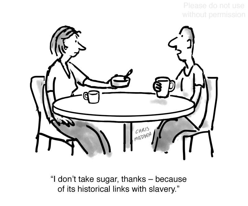 Sugar and slavery cartoon