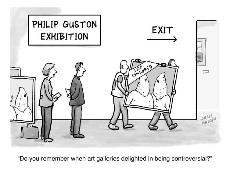 Guston kkk censorship controversy cartoon