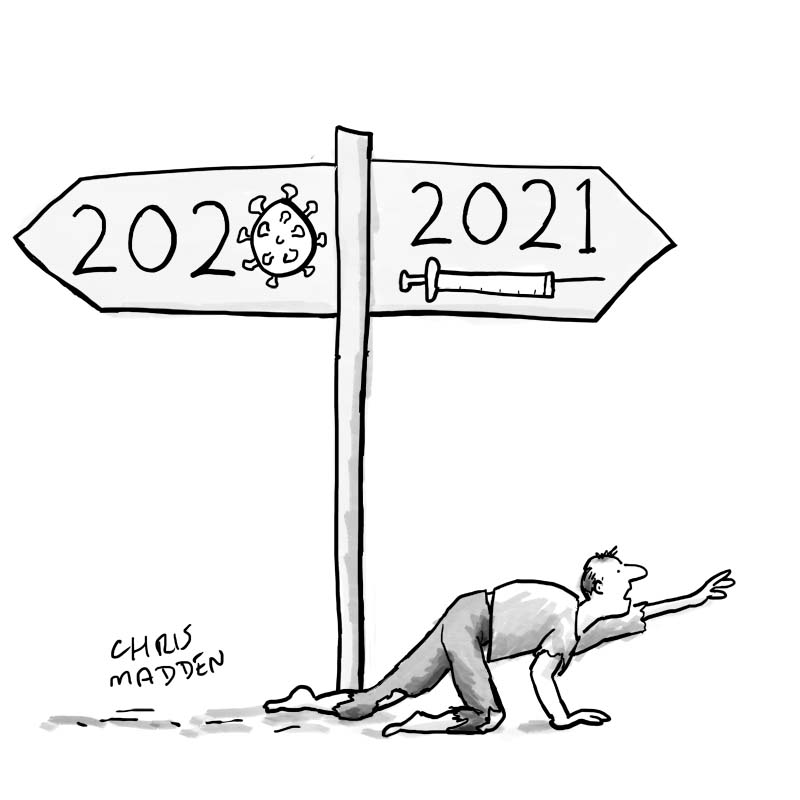 covid-19 new year cartoon