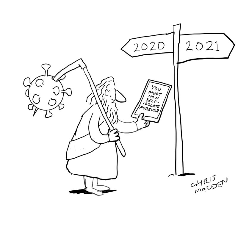 covid-19 new year father time cartoon