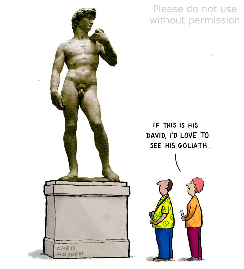 Michelangelo David sculpture cartoon