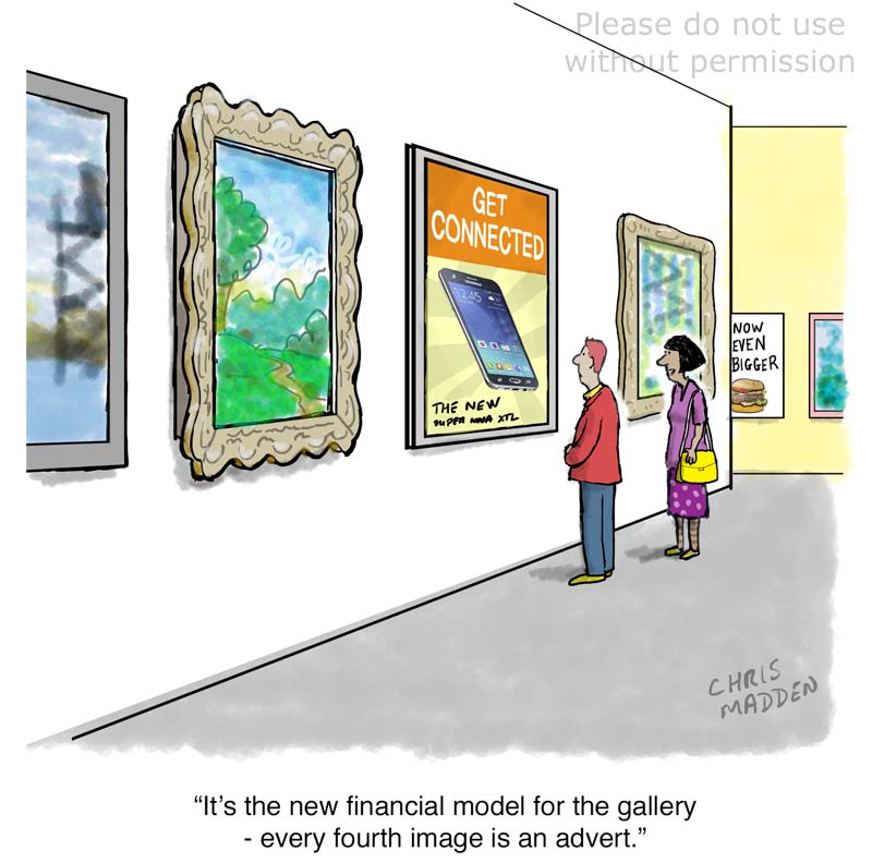 Art gallery financial model cartoon
