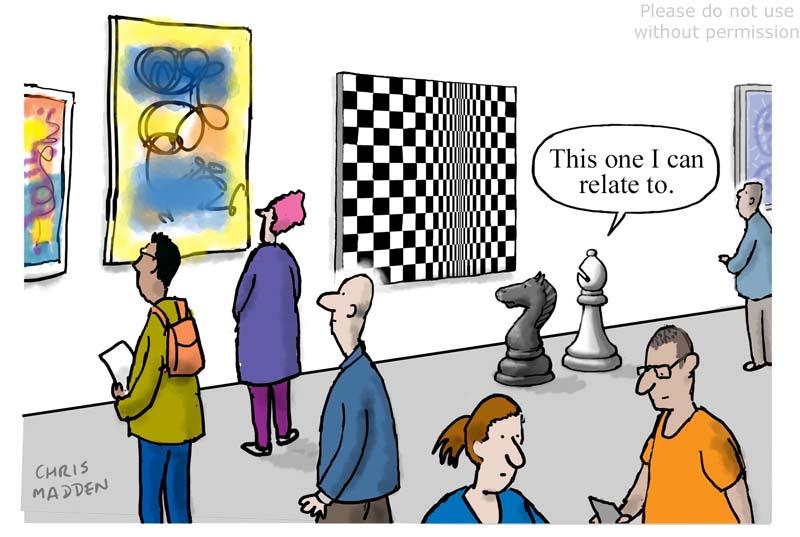 Bridget Riley chess art cartoon