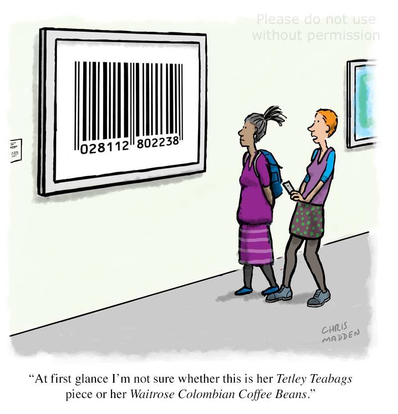 op art cartoon - Bridget Riley barcode