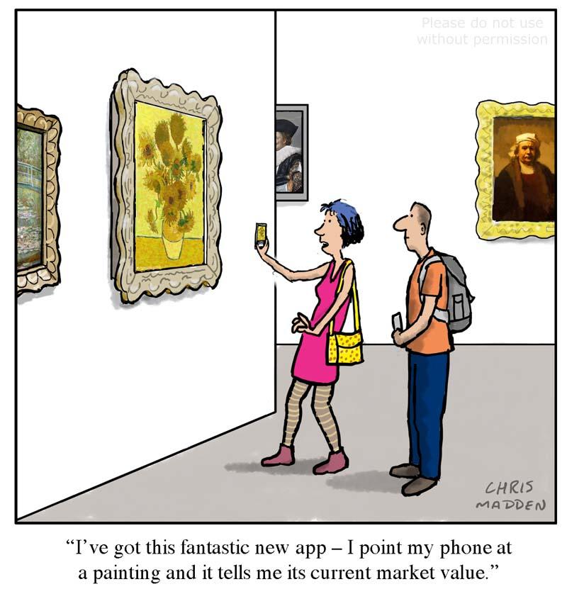 Art market cartoon – phone app for market value