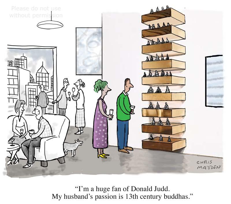 Art collectors cartoon - Donald Judd and buddhas
