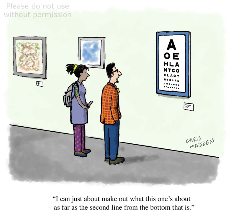 Eye test chart as art cartoon