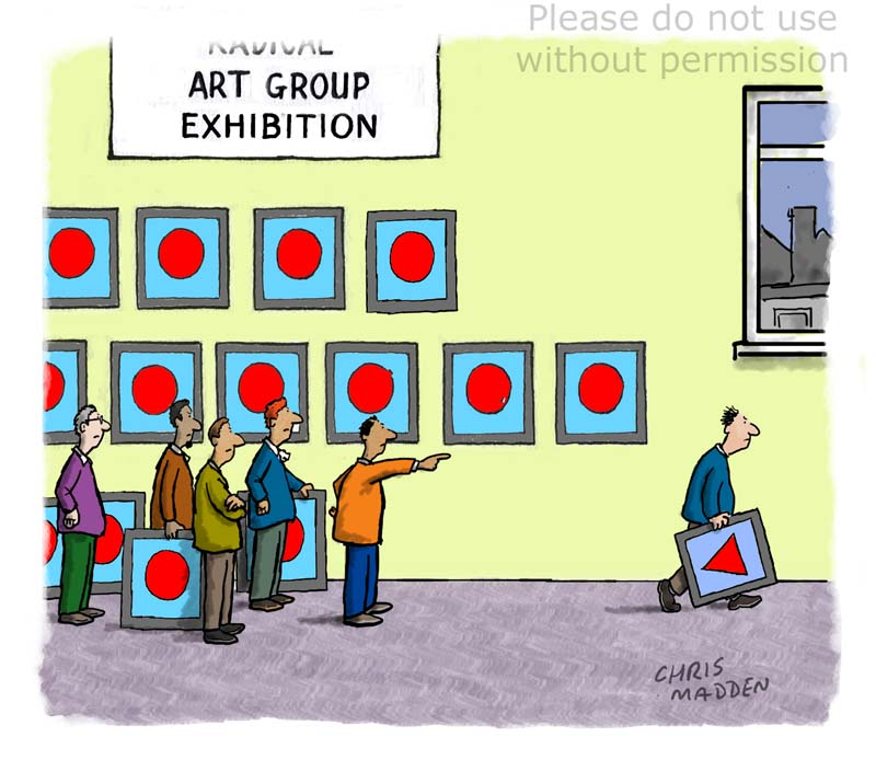 Conformity on art cartoon