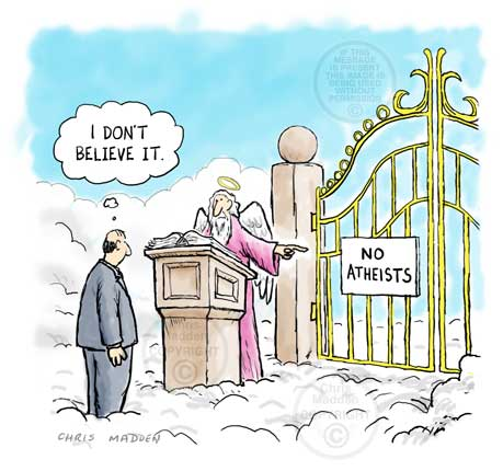 atheist at pearly gates - cartoon