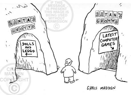 Christmas cartoon. A child standing between Santa's grotto and Satan's grotto, and trying to decide which one to go to