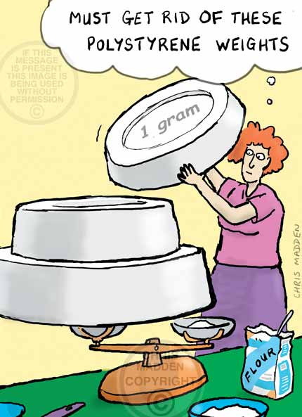 Kitchen cartoon. A woman using weighing scales for which the weights are made of polystyrene, and are thus huge