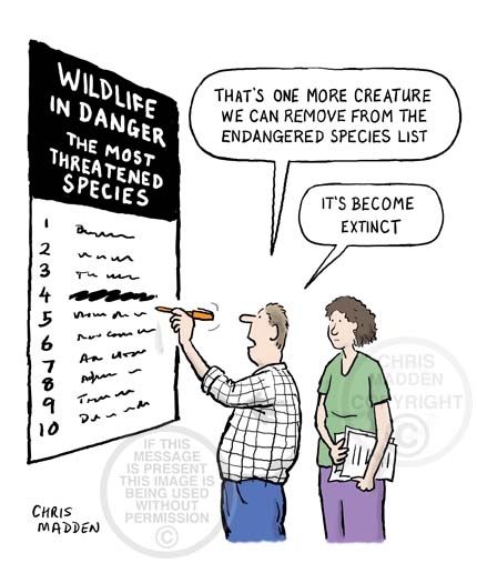 Environment cartoon. A list of endangered species, with someone crossing the name of a species off it - because it's become extinct