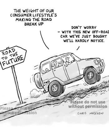 Environmental cartoon. Transport destroying the planet