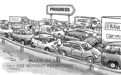 transport cartoon - traffic gridlock