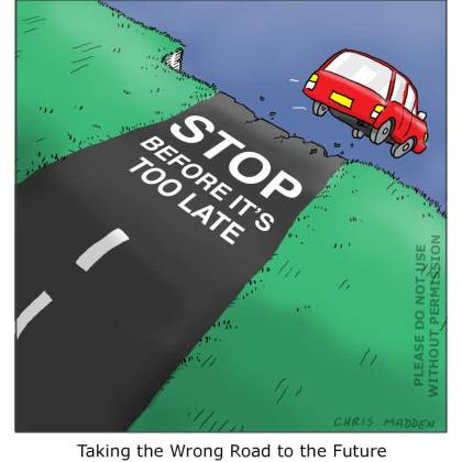 Environmental cartoon: The human race  driving itself over the precipice