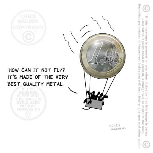 Cartoon. Euro crisis coin balloon