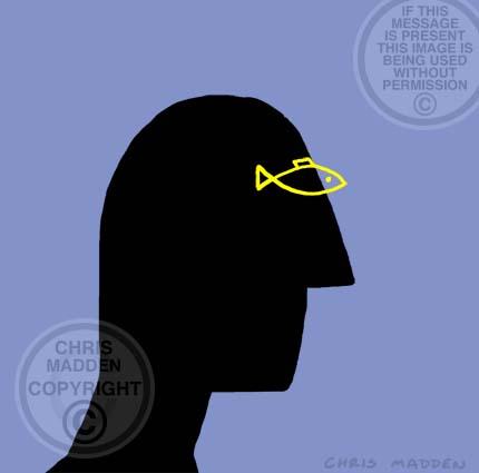 Illustration. Man with fish eye