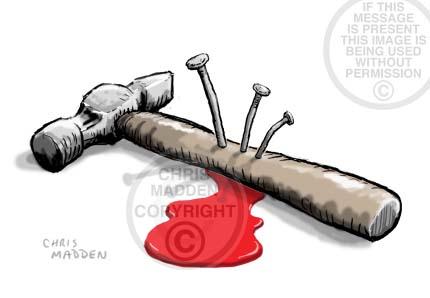 Conceptual illustration. A hammer nailed down