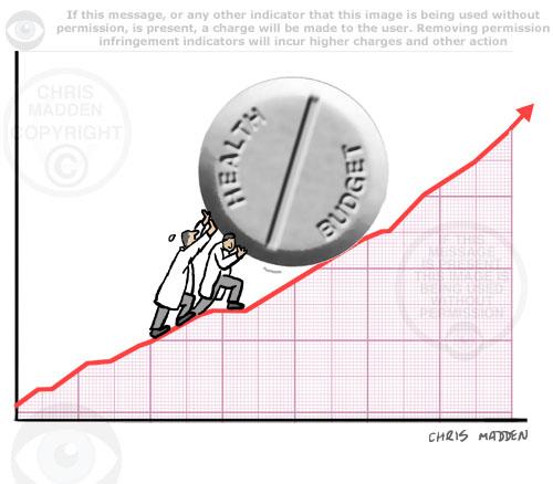 health spending increasing graph cartoon