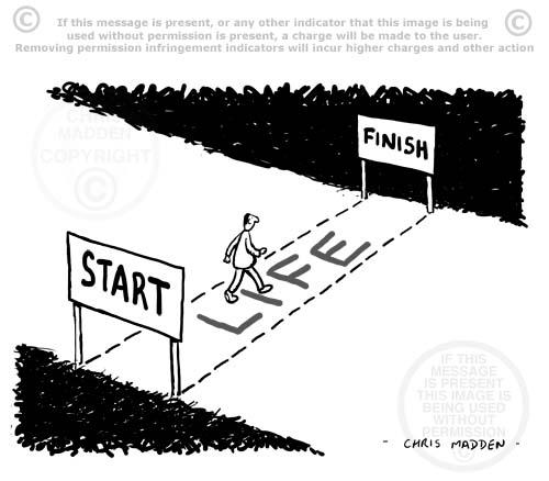 life track - start to finish -  cartoon