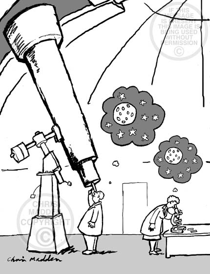 Cartoon about our place in the universe. A person looking through a telescope and a person looking through a microscope. Both seeing the same thing