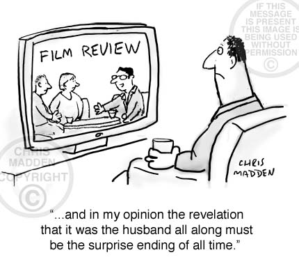 Plot spoiler cartoon. A tv review programme reveals the surprise ending of a film
