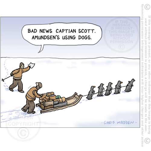 Scott Amundsen South Pole penguins pulling sledge