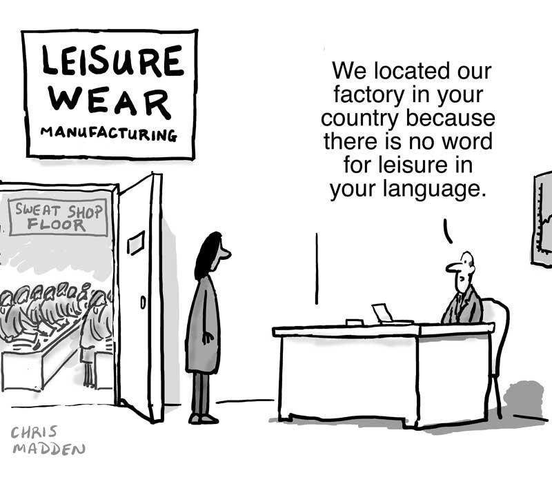 Sweat shop factory making leisure wear