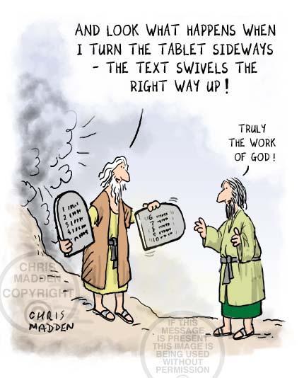 Ten commandments cartoon: the commandments on iPad type tablets