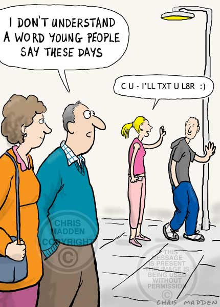 young people talking in text message language cartoon, with text message spelling - txting