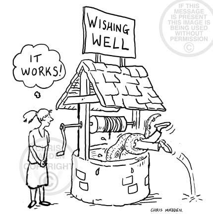 Wishing well cartoon. A monster in the well, granting a wish