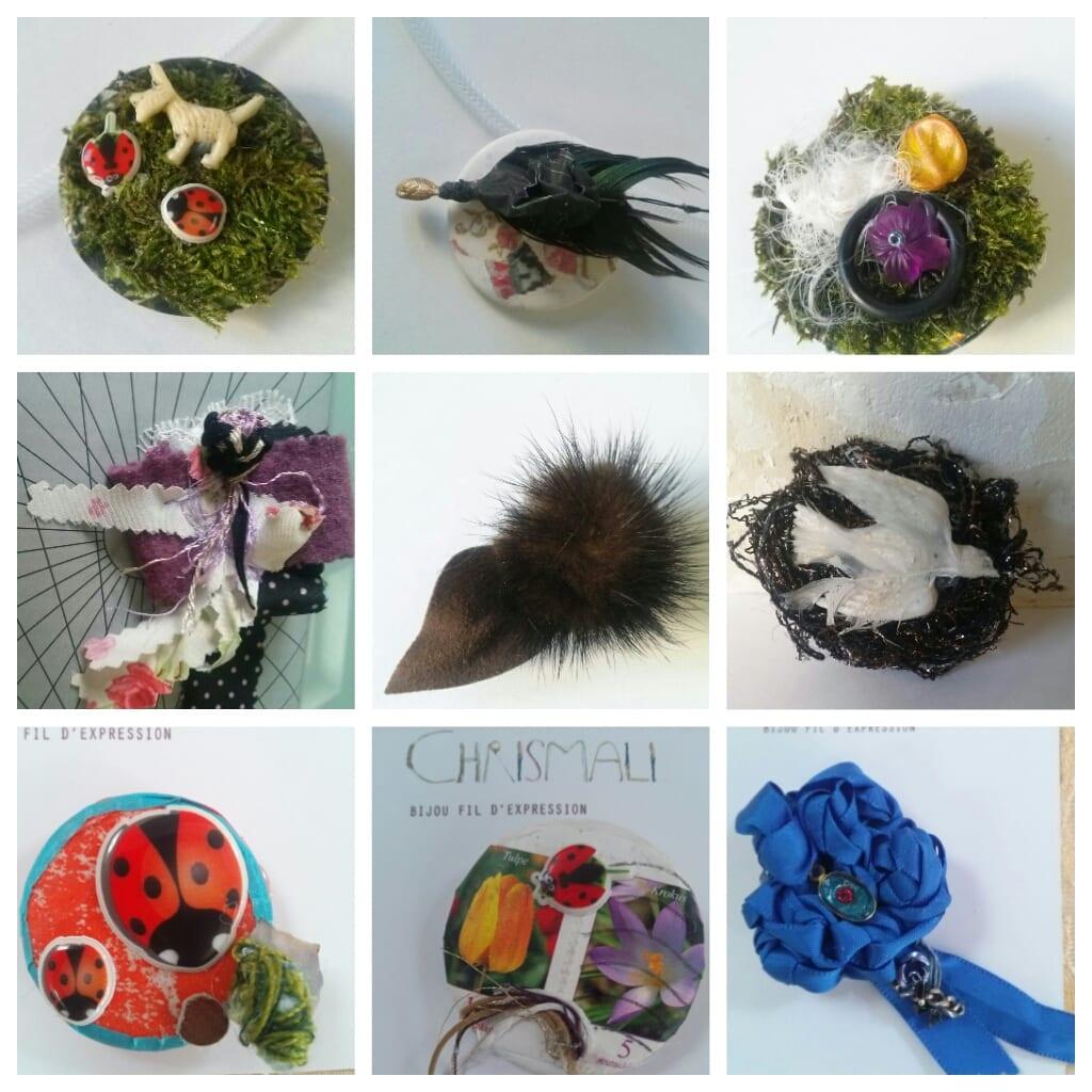 Les petites bêtes timbrées- broches Chrismali